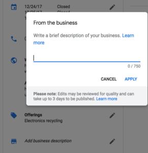 GMB Business description section