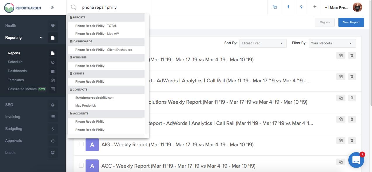 existing report - report garden