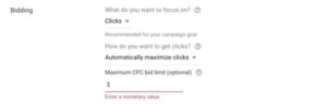 Google Ads campaign bidding