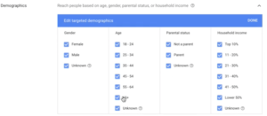 Google Display Ad Demographics