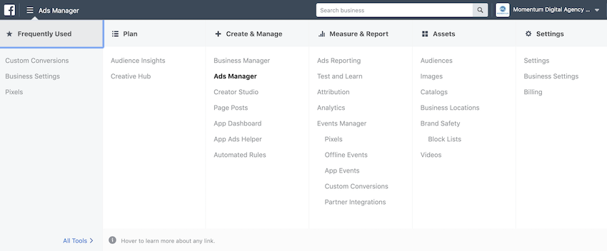 Facebook business manager all tools