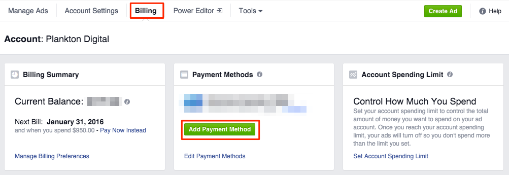 Facebook Ad Account billing settings