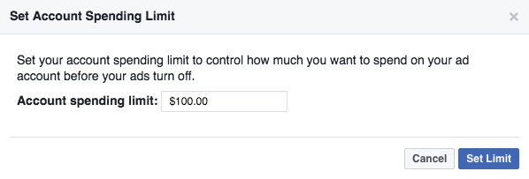 Facebook ad account spending limit