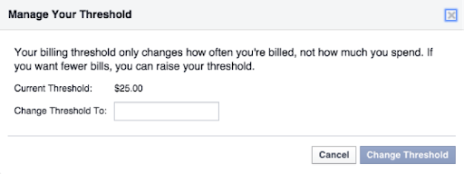 Facebook Ad account threshold