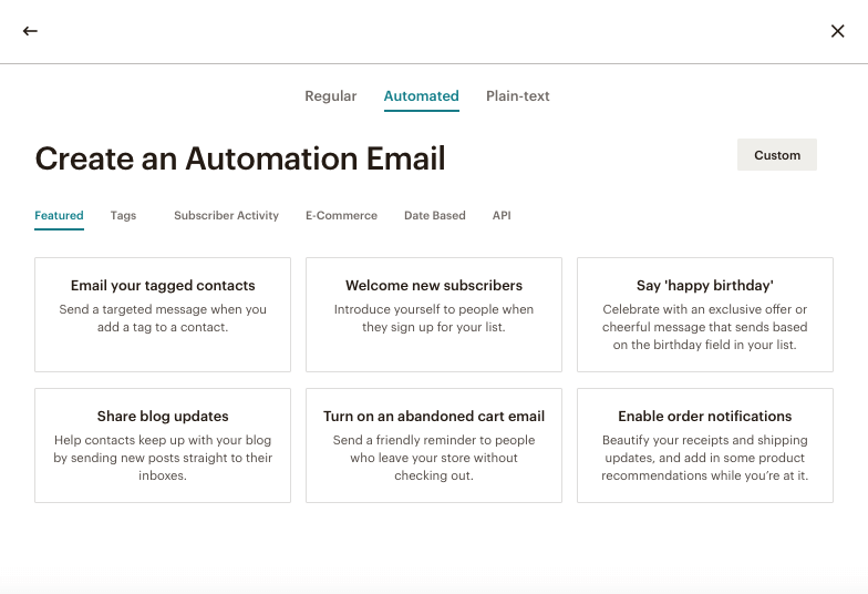 Automation Email Types
