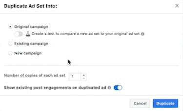 Duplicate Ad Set