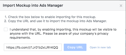 Import mockup into Facebook Ads