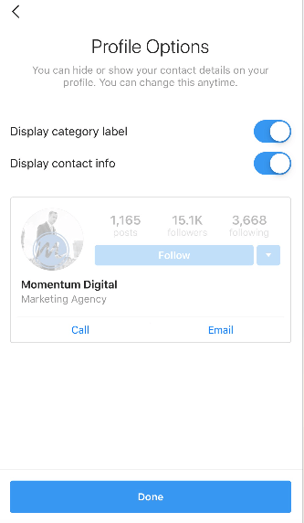 Instagram profile options