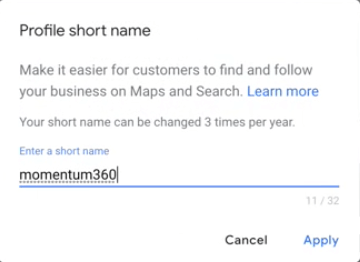 Google my business short name