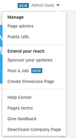 Admin tools menu options