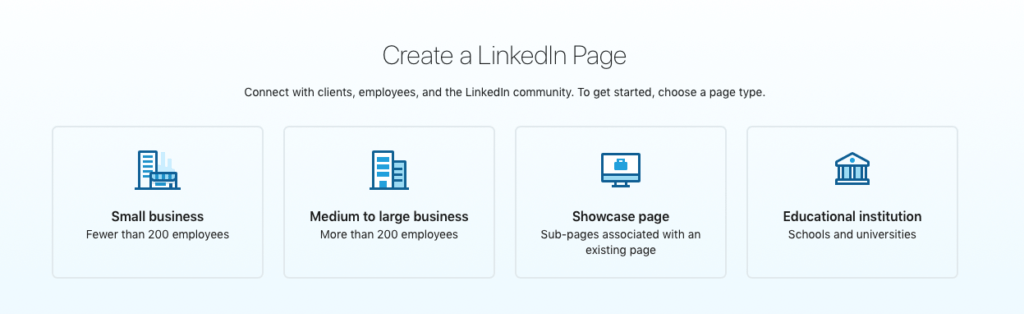 LinkedIn business page company size