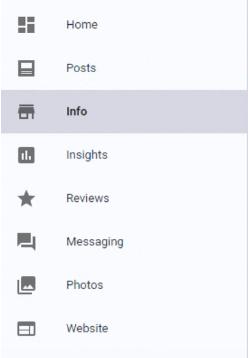 Google My Business menu