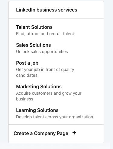 LinkedIn menu options