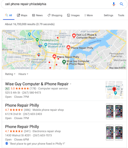 Example of a Google Map Pack which features Momentum's side business Phone Repair Philly.