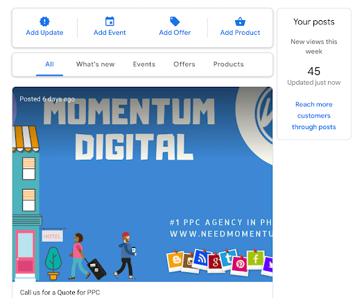 Example of Momentum's posts through the creator end of Google my Business.
